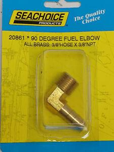 "Boat lawnmower carburetor fuel pump brass 90 degree fitting 3/8"" hose X 3/8"" NPT"