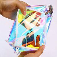 Kawaii Women Colorful Laser Transparent Pencil Case Cosmetic Bag Makeup Pouch