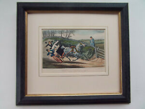 H.ALKEN COACHING ANTIQUE AQUATINT DATED 1870 NEW FRAME 32cmx29cm
