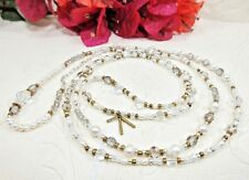 "Silpada Stardust Sterl Silver Crystal Brass Water Pearls 28"" Necklace 3348 NIB"