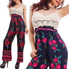 Overall donna jumpsuit tricot ricamo fiori floreale pantaloni elegante KK10080