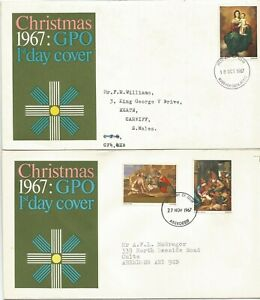 GB FDC 1967 CHRISTMAS-2 COVERS WITH INSERTS