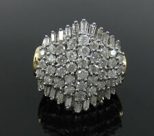 Vintage 3.90ct Round & Baguette Cut Diamond 14K Gold Cluster Ring