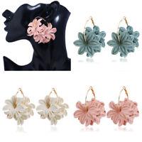 Women Flower Drop Dangle Large Circle Hoop Earrings Hook Ear Jewelry Gift