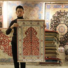 Yilong 2'x3' Red Handmade Carpets All Over Hand Knotted Silk Rugs 418M