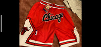 Chicago Bulls Red and White Throwback Just Don Chicago Mens Basketball Shorts