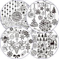 4pcs/set Christmas Xmas Nail Stamping Plates Set Template Manicure Snowflake