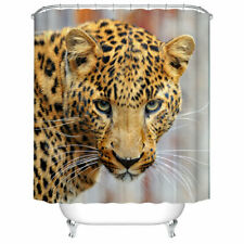 Animal Theme Decor Shower Curtain Set Leopard Print Art Bath Curtains + 12 Hooks