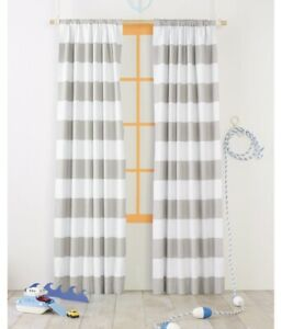 """Pillowfort Twill Light Blocking Lined Curtain Panel White/Gray Rugby Stripe 63"""""""