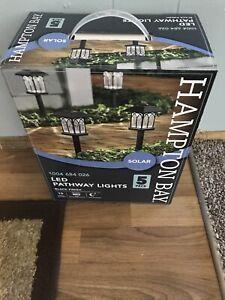 Hampton Bay Solar  Black Outdoor Integrated LED Landscape Pathway Lights 5 Pack