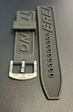 24MM RUBBER BLACK WATCH STRAP FOR BREITLING WITH PIN CHROME BUCKLE FLEXIBLE MENS