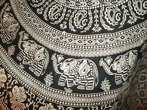 Tapestry Wall Hanging Cotton Fabric / Home Decor medallion elephants black white