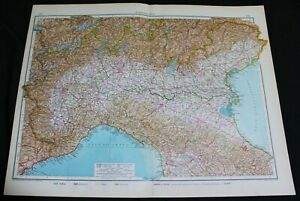 GERMAN ATLAS MAP PAGE PLATES OF ITALY ROME NAPLES VINTAGE PRE WWI EARLY 1900s