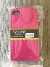 APPLE IPHONE 4 / 4S PINK FLIP COVER CASE NEW