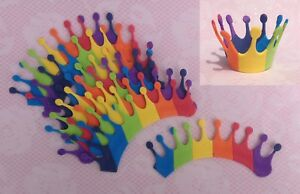 8 Rainbow Foam Crowns  Bow Making DIY crafts Bottle Toppers