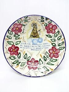 Antiguo Plato Fuente Ceramica VILLANUEVA DEL ARZOBISPO 29cmØ Principios Siglo XX
