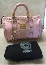 VERSACE Pink Pebble Leather~Gold Studded HandBag Vintage