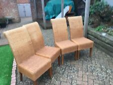 Genuine Rattan Wicker Next Dining Chairs Set 4 Pieces Brown