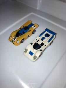 Aurora AFX White Ferrari / Yellow Porsche HO Slot Cars