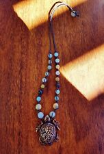 Sea Turtle Hemp Necklace Amazonite  Crazy Lace Agate Tribal Boho Dreadie Jewelry