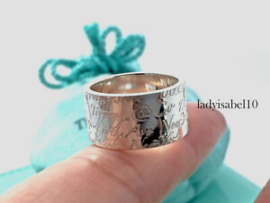 Tiffany & Co Size 6.25 Wide Notes Love Band Ring Sterling Silver Gift w Pouch 2W