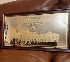 """Budweiser King Of Beers Clydesdale Gold  Wagon Mirror 26"""" X 14"""