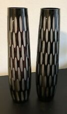 New ListingBlack Contemporary Large Flower Glass Vases 20� Tall 5� Wide Beautiful Condition