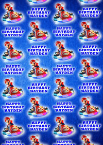 MARIO KART Personalised Gift Wrap - Super Mario Nintendo Wrapping Paper