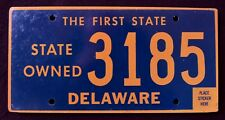 "DELAWARE "" THE FIRST STATE - STATE OWNED "" DE Specialty License Plate"