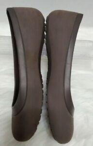 Crocs Women 8 Mammoth Ballet Flat Slip On Animal Print Faux Fur Lined Brown S116