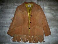 Vtg Pioneer Wear Leather Jacket Rancher Western Fringe Native Hippie Women's 16