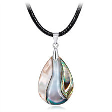 Ethnic Waterdrop Nature Abalone Shell Pendant Necklace Sweater Chain Jewelry