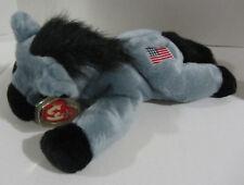 """Ty Beanie Buddies Gray Lefty Donkey Flag 13"""" Plush Toy Usa"""