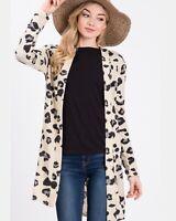 NWT Medium Women's Open Front Cardigan Animal Print Long Sleeve Top Boutique