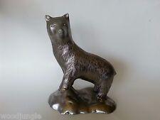 Cast Metal Bear Sculpture Plated Brass Kodiak Grizzly Brown Black Cub Alaska