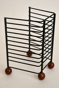 Black Metal Wooden Footed Compact Disc Holder Holds 10 Table Counter Storage
