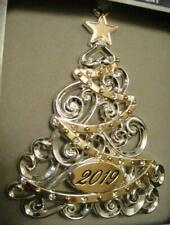 2019 Dated Sparkling Silver/Gold Christmas Tree Ornament~European Crystals~Nib