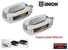0235 - COPPIA PEDALI UNION SPORT/VINTAGE BIANCHI PER BICI 20/24/26 BMX FREESTYLE