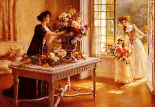Huge Oil painting Fresh From The Garden young women & girl flowers free postage