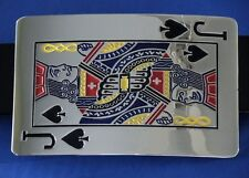Belt Buckle Jack Of Spades with Genuine Leather Belt  Brand New Free US Shipping