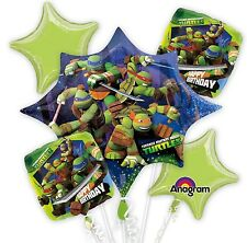 Ninja Turtle 5 Birthday Mylar Bouquet Balloons Party Decoration Set