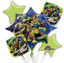 Ninja Turtle 5 Birthday Mylar Bouquet Balloons Party Decoration Set