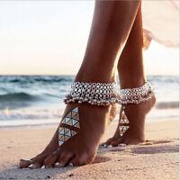 Damen Boho Silber Ketten Fußkette Knöchel Armband Barfuß Sandale Strand Schmuck