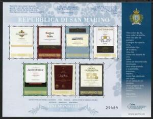 SAN MARINO MNH 2012 Wines of the World Minisheet
