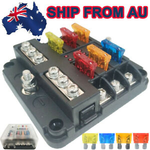 6 Way Blade Fuse Box Auto Block Holder LED Indicator Kit 12V For Car Boat AU