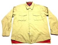 Tommy Hilfiger Mens Beige Long Sleeve Button Front Shirt Size XL Front Pocket