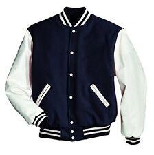 Exclusiv Windhound College Jacke navy blau mit weißen Echtleder Ärmel S