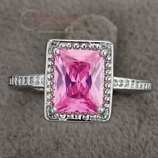 Exquisite Rhodium Plated Pink Princess Cut Cubic Zirconia Ring R018