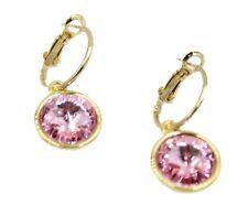 Swarovski Elements Pink Round Bezel Dangle Earrings Gold Plated Earrings