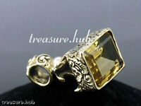 P050 - Detailed Genuine 9ct GOLD Engraved NATURAL CITRINE Seal - FOB Pendant